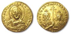 Ancient Coins - AV gold solidus, Constantine VII and Romanus II, Constantinople 913-959 A.D.