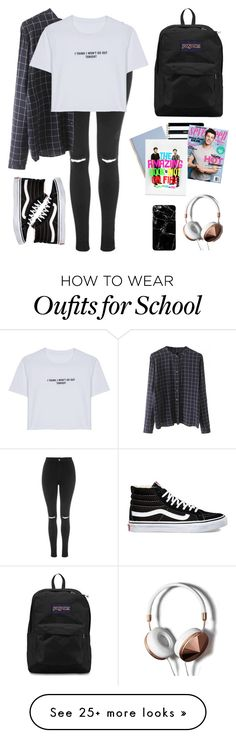 """school"" by x-evh-x on Polyvore featuring Topshop, WithChic, Vans, JanSport, Kate Spade and Abercrombie & Fitch"