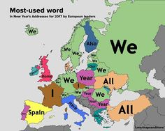 Most-used word in New Year's Addresses for 2017 by European leaders #map #maps #data #infographic #visual #info #dataviz #visualization #europe #world #russia #france #uk #italy #spain #germany #sweden #austria #portugal #poland #greece #paris #rome #moscow #london  #norway #finland #newyear #christmas