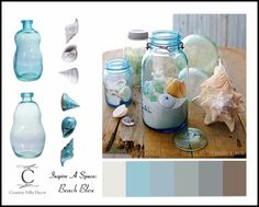 One way to quickly bring soothing ocean blues into your beach cottage decor is with Blue Mason Jars filled with your favorite beach treasures.
