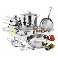 Wolfgang Puck 15Piece Cookware Set Silver *** You can find out more details at the link of the image.