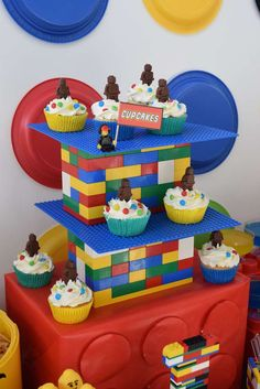 """Cupcakes at a Lego birthday party! See more party planning ideas at <a href=""""http://CatchMyParty.com"""" rel=""""nofollow"""" target=""""_blank"""">CatchMyParty.com</a>!"""