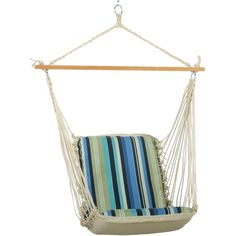 Pawleys Island Cushioned Single Swing, Quick Ship ($249) ❤ liked on Polyvore featuring home, outdoors, patio furniture, hammocks & swings, beaches stripe, outdoor swing and outside swing