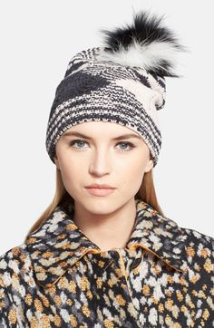 Missoni Chunky Knit Beanie with Genuine Fox Fur Pom available at #Nordstrom