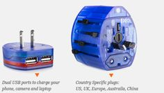 Universal Adapter with 2 USB ports... Charge all your electronic devices regardless where you are in the world...