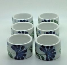 Dansk Sage Song Napkin Rings. Green Blue Flower Motif. Set of 6. BC GST 5% & PST 7 % As of April 1, 2013. Prince Edward Island HST 14% As of April 1, 2013. Northwest Territories GST 5%. Preowned, no cracks or chips.   eBay!