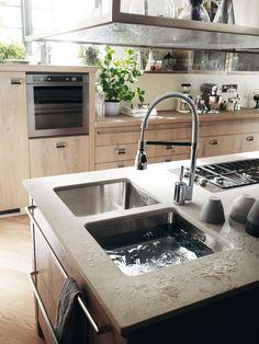 Diesel social kitchen design by diesel. let's live together! Under Kitchen Sink Storage, Kitchen Sink Window, Corner Sink Kitchen, Farmhouse Sink Kitchen, Kitchen Dining, Scavolini Kitchens, Porcelain Kitchen Sink, Kitchen Hood Design, Kitchen Sink Lighting