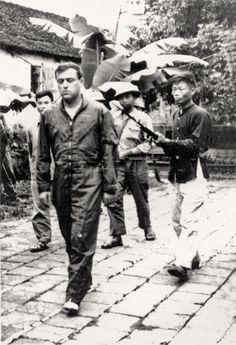 Master Sergeant Louis E. LeBlanc, a crewman on a B-52 shot down over Hanoi during Operation Linebacker II, is captured by militiamen in Ha TayProvince, northwest of Hanoi, December 22, 1972. (Texas Tech University Vietnam Archive)