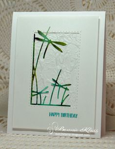 Hello, my friends.        I'm trying to use some of my NBUS dies and had some fun with this one.     I die cut the Dragonfly Corner fr...