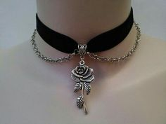 ROSE Charm With CHAIN Drapes BLACK Velvet Ribbon Choker - si. or choose another colour velvet from a wide choice Cute Jewelry, Body Jewelry, Jewelry Box, Jewelry Accessories, Jewelry Making, Jewellery, Black Jewelry, Tribal Jewelry, Charm Jewelry