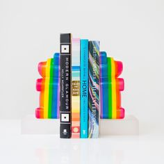 Handmade rainbow layered gummi bear bookends on an acrylic block. Handmade by sazerac stitches Baby Boy Nursery Decor, Baby Boy Nurseries, We Bear, Cute Bears, Gummy Bears, Lovers Art, Cute Kids, Kid Stuff, Bookends