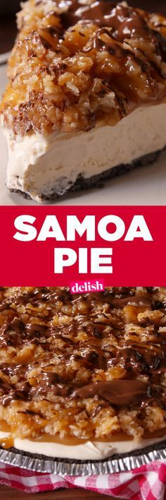 Pie Samoa Pie is even better than the Girl Scout cookie.Samoa Pie is even better than the Girl Scout cookie. Easy Caramel Pie Recipe, Samoa Pie Recipe, Mini Desserts, Just Desserts, Delicious Desserts, Yummy Food, Desserts Caramel, Plated Desserts, Healthy Food