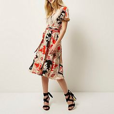 Orange floral print D-ring midi dress - day / t-shirt dresses - dresses - women