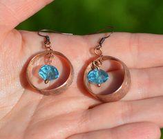 blue copper earrings faceted glass earrings hoop by CopperFinger