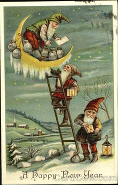 Vintage Happy new year greeting card three Gnomes Vintage Happy New Year, Happy New Year Cards, Happy New Year Greetings, New Year Greeting Cards, Vintage Greeting Cards, Xmas Elf, Christmas Gnome, Christmas Themes, Vintage Christmas Images
