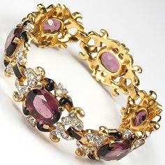 Trifari Alfred Philippe Gold Amethyst and Black Enamel Pave Scrolls Link Bracelet