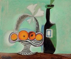 Pablo Picasso, Nature morte. Corbeille de fruits et bouteille. oil over black Conté crayon on canvas 18¼ x 21¾ in. Painted in Paris, (12/29/1937). Sold for $4,226,500
