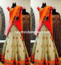 Designer Half Saree by Bhargavi Kunam – South India Fashion Lehenga Crop Top, Net Lehenga, Lehenga Choli, Indian Wedding Bride, Indian Bridal, Half Saree Designs, Blouse Designs, Indian Dresses, Indian Outfits