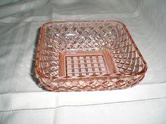 Vintage Anchor Hocking Pink Depression Glass Square Lattice Candy Dish