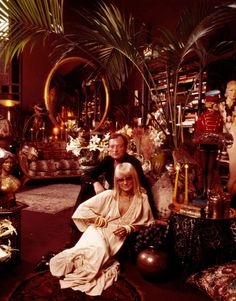 Biba founder Barbara Hulanicki with her husband at their home, 1975.