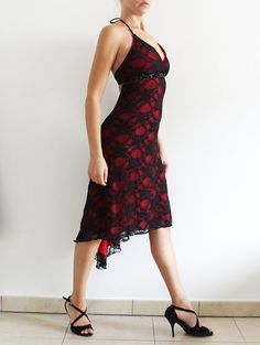 Red and Black Lace Tango Dress  milonga party clothing  open back dress with tail  holiday dance party outfit
