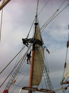 Going aloft aboard the tall ship Hawaiian Chieftain. http://historicalseaport.org #travel #sailing #ships