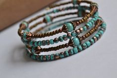 Turquoise and Brown Memory Wire Bracelet Boho by IvysPebbles, $38.00