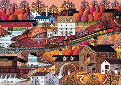 When rivers, hills and mountains come together, you can get some rather dynamic waterfall views. Charles Wysocki's Waterfall Valley 500 piece jigsaw puzzle by Buffalo Games is the perfect example of this. Here we have a colonial town that has grown up around a rushing river with multiple waterfalls that are not only used for the hydropower they provide, but also to create beautiful landscapes. With only 500 pieces, this is a good beginner or intermediate puzzle. The abundance of fall colors…