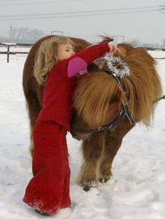 Playing in the snow - pony & child