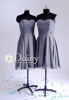 2013 Short Bridesmaid Dress Chiffon Wedding Party Dress Slate Gray Homecoming/Cocktail/Prom Dress Sweetheart Bridesmaid Dress(BM0567266) on Etsy, $83.00