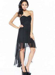 Black Chiffon Hi-Lo Strapless Dress with Ruched Front,  Dress, hi-lo dress  strapless  ruched dress, Chic