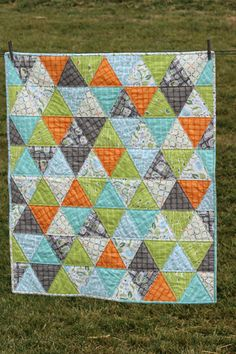 Baby Boy Quilt Triangle Quilt Backyard Baby by lovequilt on Etsy, $95.00