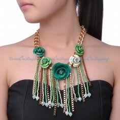 Gold Chain Green Spray Flower Tassels Beads Pendant Bib Fashion Jewelry Necklace #Pendant