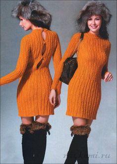 Платье, а главная в нем - спинка. (спицы)