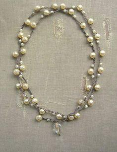 Pearl crochet wrap necklace