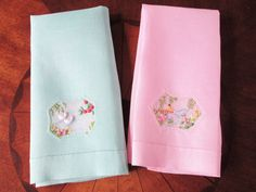 Vintage Linens Embroidered Towels Pink and Green