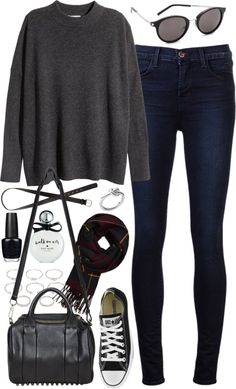 Outfit for college by ferned featuring midi rings H M long sleeve sweater, 130 AUD / J Brand jeans, 430 AUD / Alexander Wang leather duffle bag, 1 130 AUD / Michael Kors ring, 67 AUD / Forever 21 midi...
