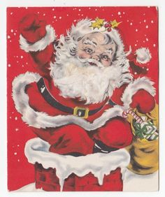 Vintage Greeting Card Christmas Santa Claus Chimney Cotton Beard