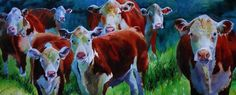 Hereford Cow Art Print of my Painting Watercolor Curious Farm Decor Decoration #Realism