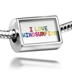 Neonblond Charm I Love Windsurfing,Colorful 925 Sterling Silver Bead Silver Charms, Silver Beads, I Love Tour, Bridal Gifts, How To Make Beads, My Best Friend, Charmed, Sterling Silver, Walmart