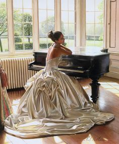 Lady in love at the piano ...before the wedding.