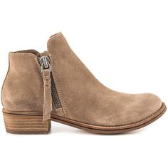 Dolce Vita Women's Sutton - Dk Taupe Suede ($150) ❤ liked on Polyvore featuring shoes, boots, ankle booties, ankle boots, brown, taupe suede booties, faux suede boots, low heel booties, brown ankle boots and suede booties