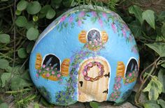 Painted blue fairy garden cottage miniature gnome by MyPaintedSwan