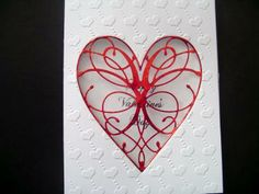 White and Red Embossed Valentine Heart Window Card , Happy Valentine's Day Card by BethiesCards for $6.30