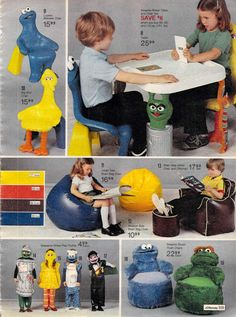 Sesame Street Furniture from a 1980 catalog 1980s Toys, Retro Toys, Toddler Toys, Kids Toys, Brick Restoration, Post Mortem Photography, 80s Kids, Jim Henson, Celebration Quotes