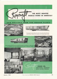 Image detail for -Vintage Literature Reproductions : 1960 - Roycraft Mobile Home ~ RV ...