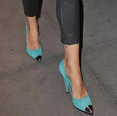 I Love these!!!  Gwyneth Paltrow in Turquoise Pumps - Props to the pumps!  Whenever I wear my darker turquoise pumps I always get compliments!  I love the punch of color - I can wear all black and it is never boring.