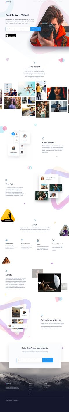 Artup Enriching artistic talents - Landing Pages - Create a landing pages with drag and drop. Easily make your landing page in 3 minutes. Best Ui Design, Web Design Tips, Web Design Trends, App Design, Landing Page Inspiration, Website Design Inspiration, Layout Cv, Layout Design, Banners