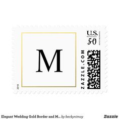 Shop Elegant Wedding Gold Border and Monogram Stamps created by beckynimoy. Monogram Wedding, Wedding Gold, Elegant Wedding, Custom Postage Stamps, Formal Wedding Invitations, Wedding Postage, Best Gifts, Prints, How To Make