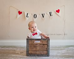 Valentine's Day child pose in crate and banner bunting flag